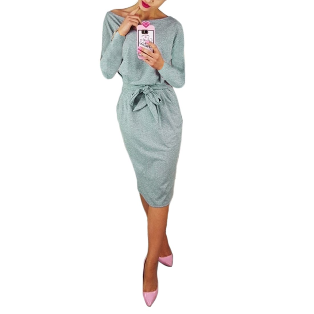 Shinekoo Autumn Women Elegant Long Sleeve Office Casual Pencil Dress with Pockets
