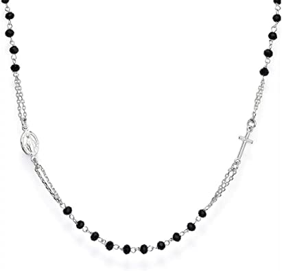 Collana rosario amen unisex in argento crobn3