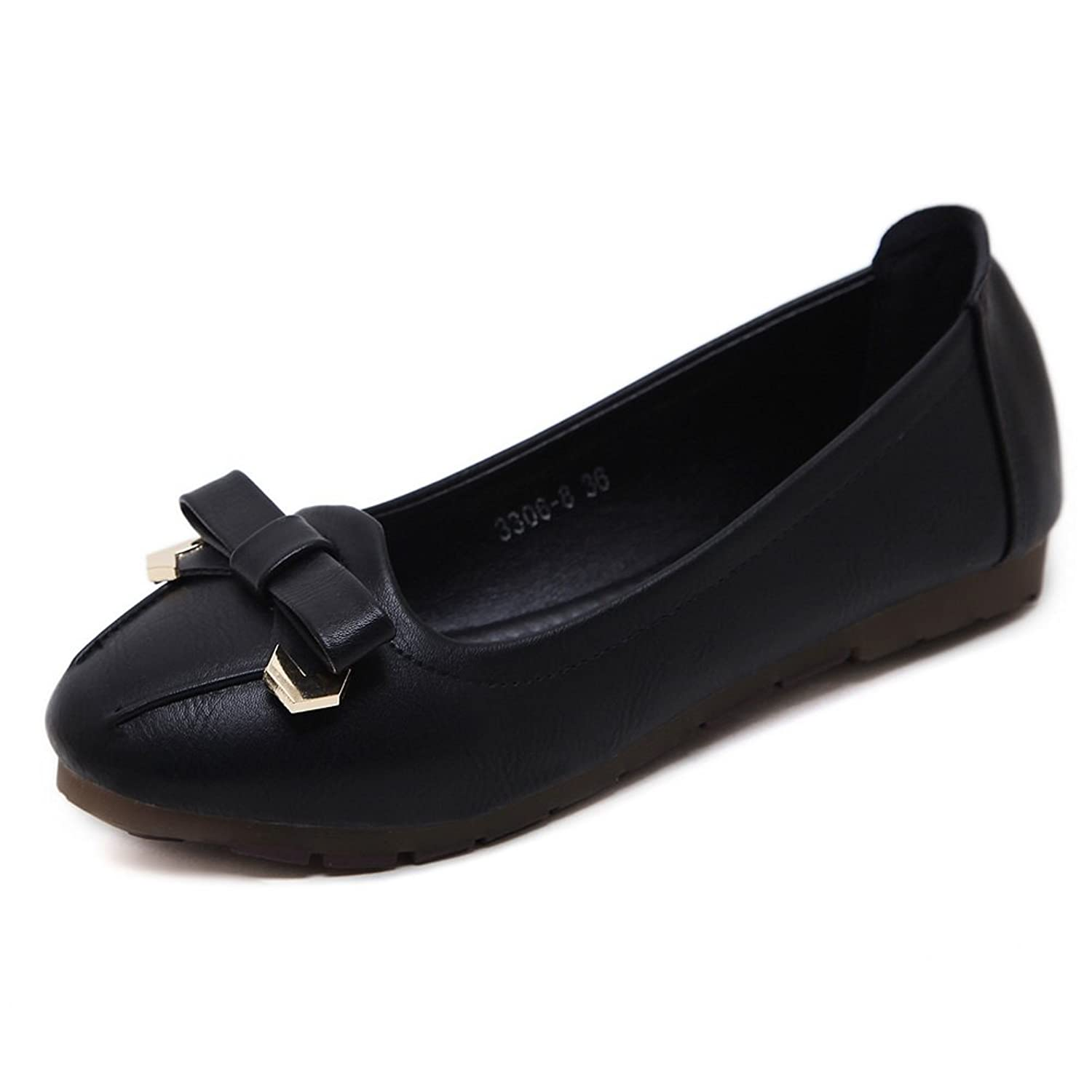 AdeeSu Womens Bows Low-Cut Uppers Round-Toe Urethane Flats Shoes