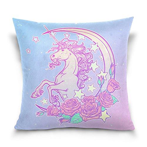 SUABO 18 X 18 inch Pillow Case Decorative Cushion Cover Pastel Goth Unicorn Pattern Pillowcase