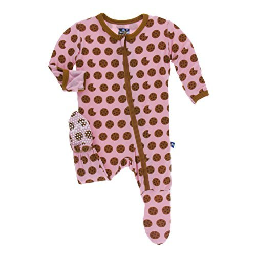 KicKee Pants Little Girls Print Footie (Zipper) - Lotus Cookies, 6-9 Months