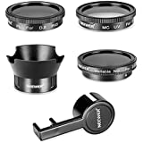 Neewer Filter & Accessory Kit for DJI Phantom 3 4K, Advanced, Professional and Standard: UV Filter + CPL Filter + ND2-400 Filter + Rose Petal Lens Hood + Lens Cap Protector