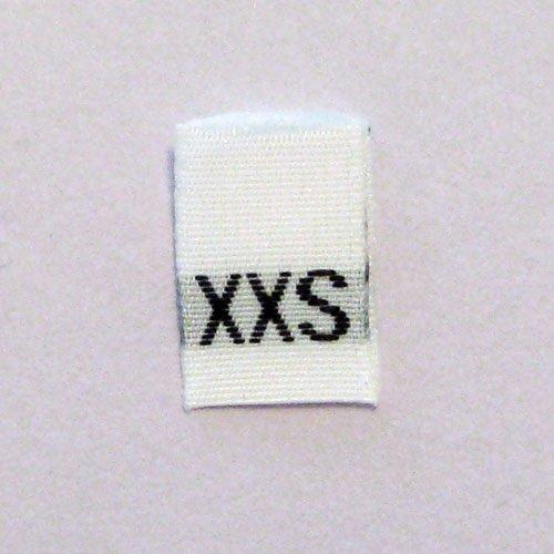 Size XXS (Extra Extra Small) Woven Clothing Size Tags (Pkg of 250) by ShuShuStyle