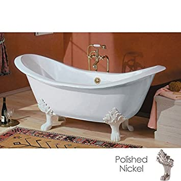 Cheviot Regency Cast Iron Claw Foot Bathtub White / White With Polished  Nickel Feet