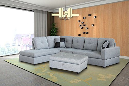 Left 3 Piece Sectional (Legend 3 Piece Microfiber Right-Facing Sectional Sofa Set with Free Storage Ottoman, Gray)
