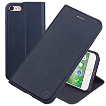 Nouske iPhone 6 Plus&iPhone 6S Plus Flip Folio Wallet Stand up Credit Card Holder Leather Case Cover Holster/Magnetic Closure/TPU bumper/360 Full Body protection, Navy Blue