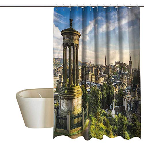 Denruny Shower Curtains White and Black Cityscape,Edinburgh Aerial View,W72 x L96,Shower Curtain for Small Shower stall