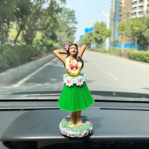 [Dashboard hula girl doll Hawaiian Gifts for Decoration,Green Skirt 4.5
