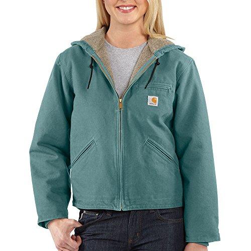 Carhartt Women's Sherpa Lined Sandstone Sierra Jacket Zip Front Hooded WJ141,Coastline,X-Small
