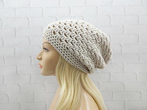 Beige Granny Stitch Beanie Crochet Hat Winter Hat Vegan Beanie Hat Womens Slouchy Beanie