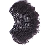 7A 4B 4C Kinky Curly Clip In Human Hair Extensions 7Pc Natural...