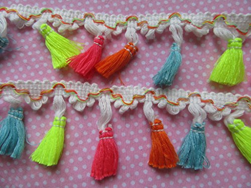YYCRAFT 6 Yards Rainbow Tassel Trim Cotton Fabric Ribbon Fringe White Edge