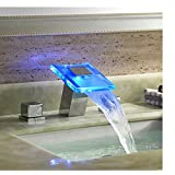 Rozinsanitary LED Color Changing Chrome LED Waterfall Bathroom Basin Faucet 3 Holes Mixer Tap