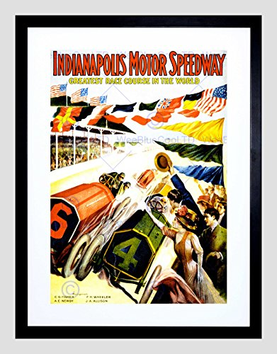 The Art Stop Sport Race Indianapolis Motor Speedway CAR Flag INDY 500 Framed Print - Indy Motor