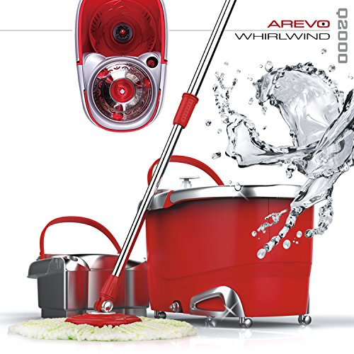 Arevo Whirlwind Wet Spin Mop and Rolling Bucket for Floor Cleaning, Easy Wring System, Soap Dispenser, Washable Microfiber Cloth Broom and Caster Wheels