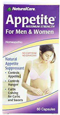 NaturalCare Homeopathic Maximum Appetite Suppressant for Men and Women, 60 Capsules