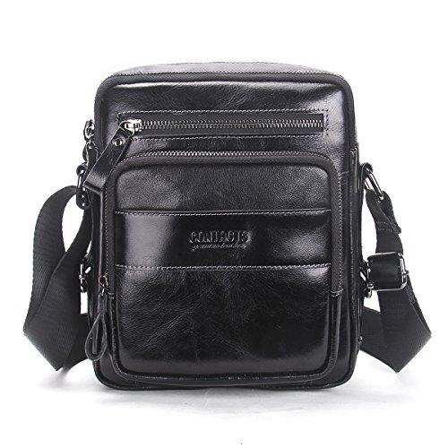 Contacts Genuine Leather Men Messenger Crossbody Shoulder Bag Travel Handbag Black
