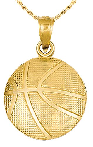 New 14k Yellow Gold Small Basketball Pendant Charm with Necklace (Sports 14k Charm Pendant Gold)