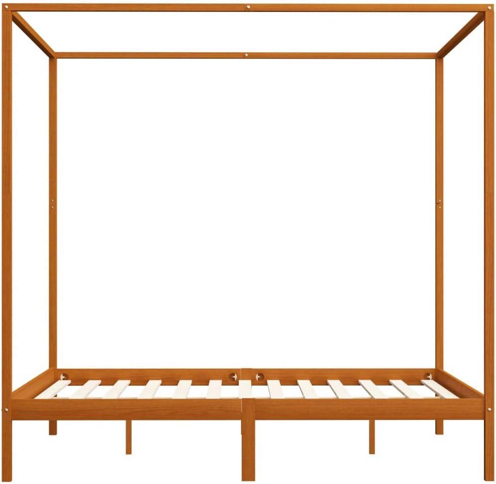 vidaXL Pin Massif Cadre de Lit /à Baldaquin Lit Double Lit Adulte Lit Coffre Sommier /à Lattes Chambre /à Coucher Maison Int/érieur Marron Miel 180x200 cm