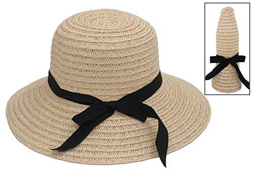 343a5503 Roffatide Women's Straw Woven Foldable Summer Beach Sun Hat Bucket Cap With  Bow Beige