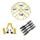 Upgraded Spare Parts for DJI Mavic Pro 8331 8331F Low-Noise Quick-release Folding Propellers Prop Guard Bumper Landing Skids Extender Riser Rc Quadcopter (Yellow-Black-Gold)
