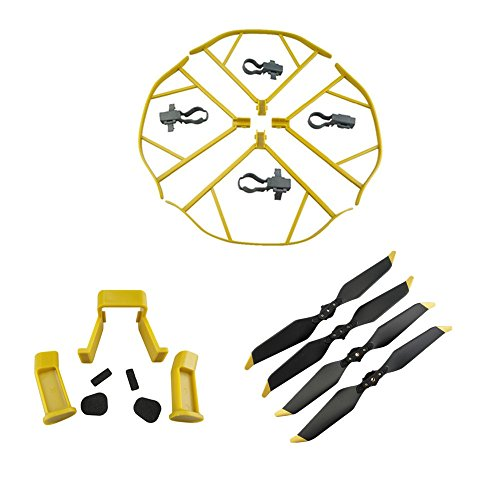 Upgraded Spare Parts for DJI Mavic Pro 8331 8331F Low-Noise Quick-release Folding Propellers Prop Guard Bumper Landing Skids Extender Riser Rc Quadcopter (Yellow-Black-Gold) by Fu's store