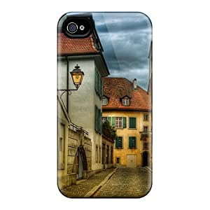 First-class Case Cover For Iphone 4/4s Dual Protection Cover Cobble Stone Back Street Hdr