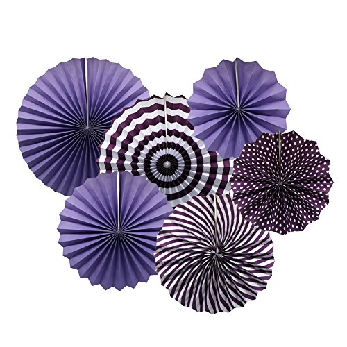 Fans Set, Purple Round Pattern Paper Garlands Decoration for Birthday Wedding Graduation Events Accessories, Set of 6 (Event Accessories)