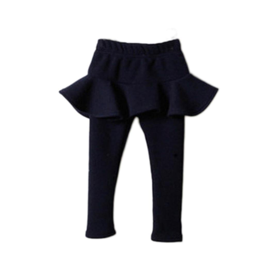 Fineser Little Girls Trendy Warmer Pants Lovely Kids Solid Pantskirt Trousers Leggings for 2-7Years