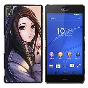 MobileHut / Sony Xperia Z3 D6603 / D6633 / D6643 / D6653 / D6616 / Anime Japanese Girl Drawing Hair / Delgado Negro Plástico caso cubierta Shell Armor Funda Case Cover