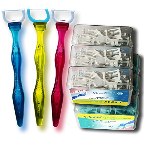 T.Smile 3rd Generation Dental Flosser 1 Handle + 50 Soft Silky Ribbon Floss Heads + 50 Extra Strength Floss Heads, Evolutionary Clean, Pack of 3