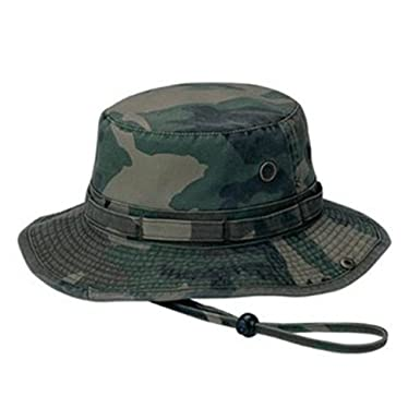 MG Men s Washed Cotton Twill Chin Cord Outdoor Hunting Hat (Camo Green 6e6009fa48c1