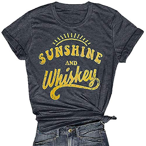 - Sunshine and Whiskey T-Shirt Women Letter Printed Graphic Summer Tees Shirt Casual O Neck Short Sleeve Tops Dark Gray
