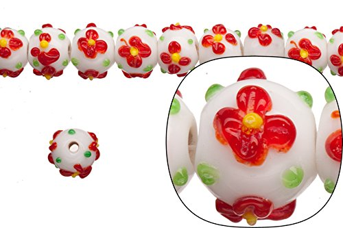 glass bead, red petal flower on white glass, 13mm bumpy rondelle sold per 20pcs/string ()