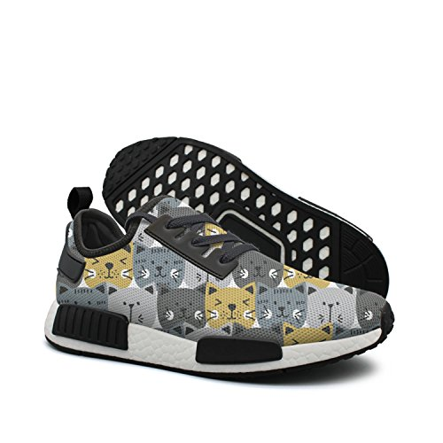 dkkdiehgk Yellow Gray Brown Cute Cat Faces On 2018 Women's Casual Campus Shoes