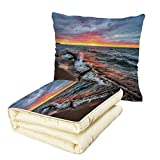 iPrint Quilt Dual-Use Pillow Driftwood Decor Driftwood on The Shores of The Lake Set Against Sunset Horizon Image Multifunctional Air-Conditioning Quilt Blue Grey Orange