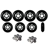 Player's Choice Inline Skate Wheels Hilo Set 72mm 80mm 82A Black Outdoor Hockey -ABEC 9 Bearings