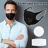 Feeilty Herbruikbaar stofmasker, wegwerp, comfortabel dubbellaags ventiel mondmasker, actieve koolstoffilter, respirator…