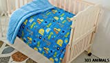 Elegant Home Kids Soft & Warm Sherpa Baby Toddler Boy Blanket Printed Borrego Stroller or Baby Crib or Toddler Bed Blanket Plush Throw 40X50 (Animals)