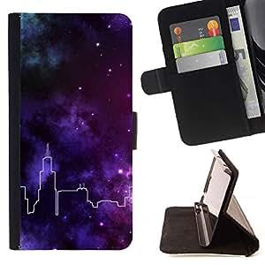 """Horizonte de la ciudad Estrellas Deep Purple"""" Colorida Impresión Funda Cuero Monedero Caja Bolsa Cubierta Caja Piel Id Credit Card Slots Para Apple Iphone 5C"""