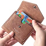 Borgasets Women's RFID Blocking Small Compact Bifold Leather Pocket Wallet Ladies Mini Purse (Vintage-Brown)