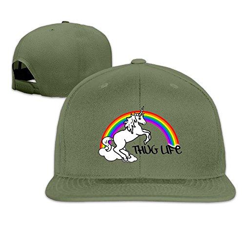 Quxueyuannan Unicorn Thug Life Adjustable Hat Baseball Flat Bottom Cap ForestGreen -