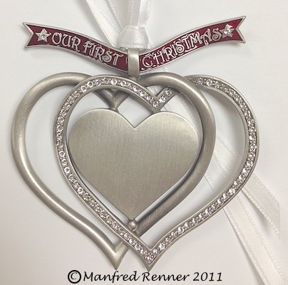 Liberty Pewter Our First Christmas Engravable Interlocking Hearts Ornament with Austrian Crystals 3.25