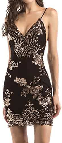 bfb541c2 Women's Sexy Backless Sparkling Dress Sequins Floral Deep V Neck Clubwear Party  Bodycon Mini Short Dress