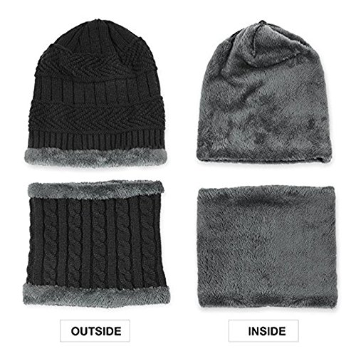 82cf783d39a13 Affei Winter Beanie Hat Scarf Set Warm Knit Hat Thick Knit Skull Cap Touch  Screen Glove