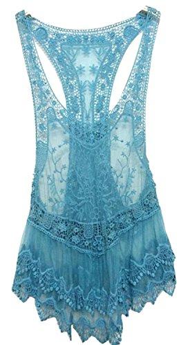 Women's Floral Sleeveless Vintage Crochet Knit Tank Tops Blouses Free Size Blue