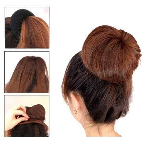 LiPing 3Sizes Black Sponge Women Magic air Band Accessory Jewelry Hair Rope Pull Hair Pin Tail Hair Braid Ponytail Maker Styling Tool Bun Ring Donut Shaper Maker