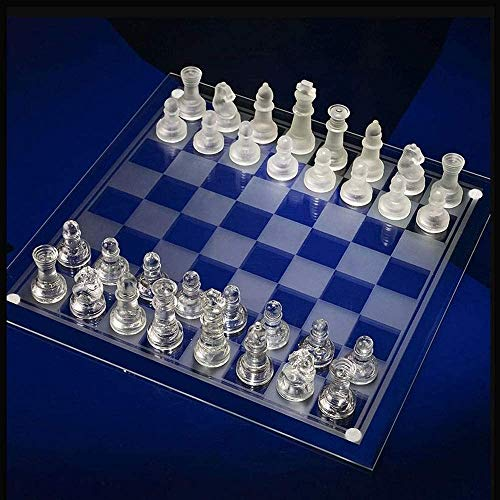 Lloow Fina de Cristal Juego de ajedrez, Piezas de ajedrez de Cristal sólido y Tablero de ajedrez de Cristal de Espejo…