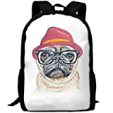 ZQBAAD Pug With Red Hat Luxury Print Men And Women's Travel Knapsack