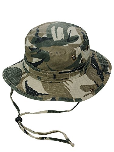 Cotton Chin Cord - MG Men's Washed Cotton Twill Chin Cord Outdoor Hunting Hat, Safari, M
